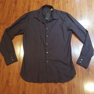 NWT Paul Smith shirt sz L navy/mini circle cotton!
